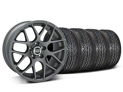 Staggered AMR Charcoal Wheel & General Tire Kit - 19x8.5/10 (05-14 All)