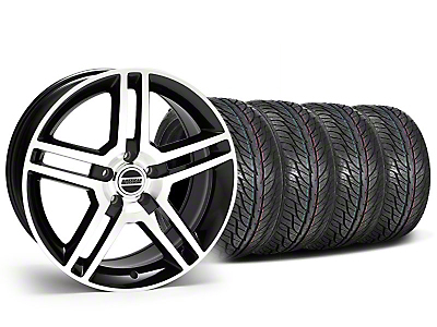 Staggered 2010 GT500 Black Machined Wheel & General Tire Kit - 19x8.5/10 (05-14 All)