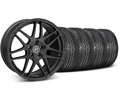 Forgestar Staggered F14 Black Wheel & General Tire Kit - 19x9/10 (05-14 All)