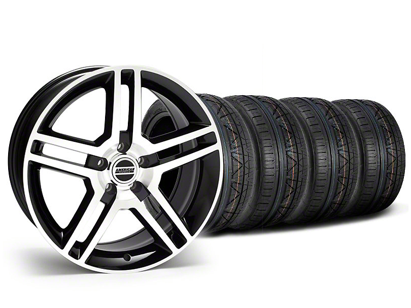 Staggered 2010 GT500 Style Black Machined Wheel & NITTO INVO Tire Kit - 18x9/10 (05-14 All)