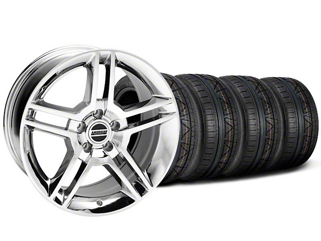 Staggered 2010 GT500 Style Chrome Wheel & NITTO INVO Tire Kit - 18x9/10 (05-14 All)