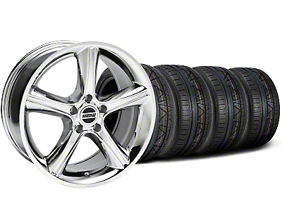 Staggered Chrome 2010 GT Premium Mustang Wheel & NITTO Invo Tire Kit - 18x9/10 (05-14 All)