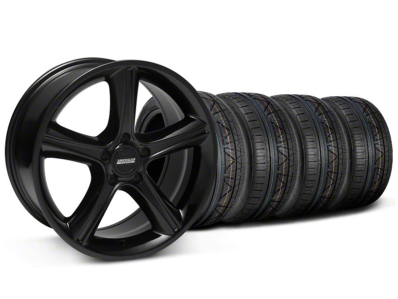 Staggered 2010 GT Premium Style Black Wheel & NITTO INVO Tire Kit - 18x9/10 (05-14 All)