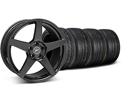 Staggered Piano Black Forgestar CF5 Monoblock Wheel & Nitto Invo Tire Kit - 18x9/10 (05-14 All)