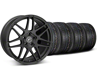 Staggered Matte Black Forgestar F14 Monoblock Wheel & Nitto Invo Tire Kit - 18x9/10 (05-14 All)