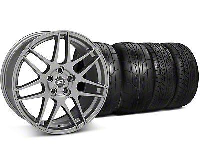 Staggered Forgestar F14 Monoblock Gunmetal Wheel & NITTO Tire Kit - 20x9/11 (05-14 All)