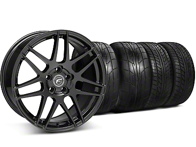 Staggered Gloss Black Forgestar F14 Monoblock Wheel & NITTO Tire Kit - 20x9/11 (05-14 All)