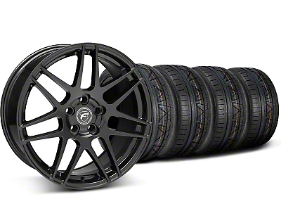 Staggered Piano Black Forgestar F14 Monoblock Wheel & NITTO Invo Tire Kit - 20x9/11 (05-14 All)