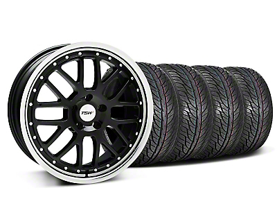Staggered Black w/ Polished Lip TSW Valencia Wheel & General Tire Kit - 19x8/9.5 (05-14 All)