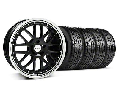 TSW Staggered Valencia Black w/ Polished Lip Wheel & Pirelli Tire Kit - 19x8/9.5 (05-14 GT, V6)