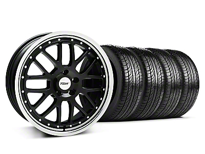 Staggered Black w/ Polished Lip TSW Valencia Wheel & Pirelli Tire Kit - 19x8/9.5 (05-14 GT, V6)