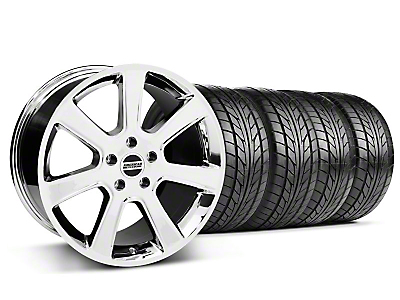 Staggered Chrome S197 Saleen Style Wheel & Nitto Tire Kit - 18x9/10 (05-14 All)