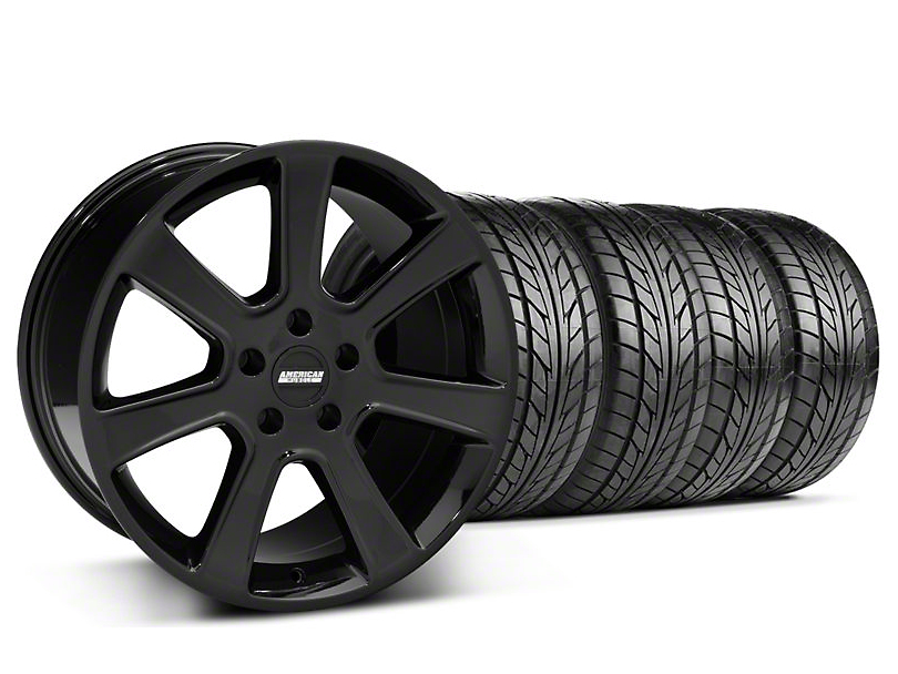 Staggered S197 Saleen Style Black Wheel & NITTO Tire Kit - 18x9/10 (05-14 All)