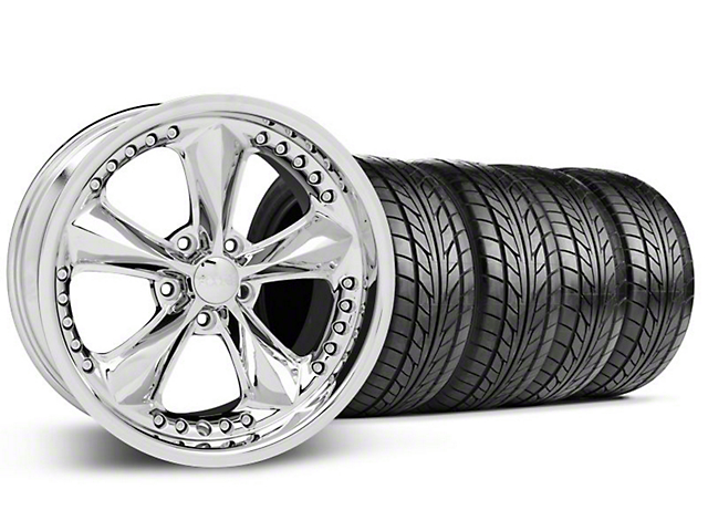Staggered Foose Nitrous Chrome Wheel & NITTO Tire Kit - 18x9/10 (05-14 All)