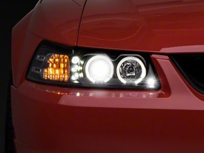 Black Projector Headlights - Dual LED Halo (99-04 All)