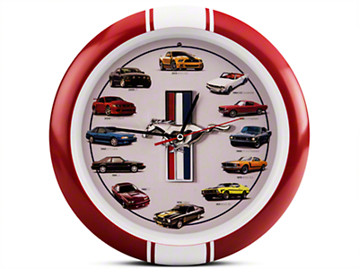 History of Mustang Clock 13 in. w/ Sound - Red