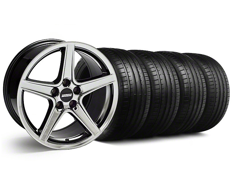 Saleen Style Black Chrome Wheel & Falken Tire Kit - 18x9 (94-98 All)