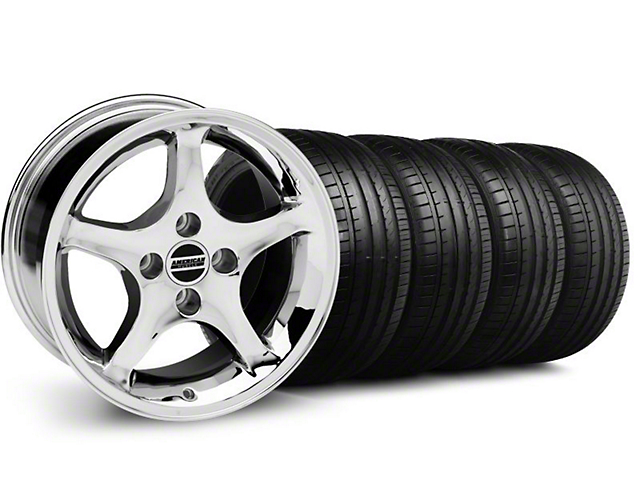 Deep Dish 1995 Cobra R Style Chrome Wheel & Falken Tire Kit- 18x9 (94-98 All)