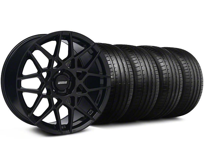 2013 GT500 Gloss Black Wheel & Falken Tire Kit - 18x9 (94-98 All)
