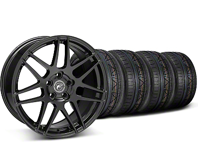 Staggered Forgestar F14 Monoblock Piano Black Wheel & NITTO INVO Tire Kit - 20x9/11 (15-17 All)