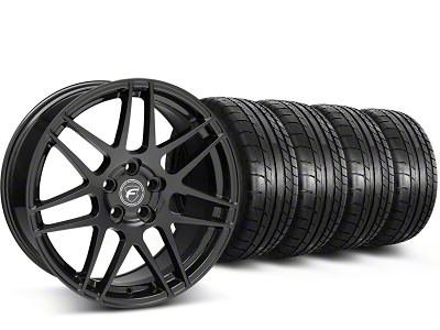 Forgestar Staggered F14 Piano Black Wheel & Mickey Thompson Tire Kit - 19x9/10 (15-16 All)