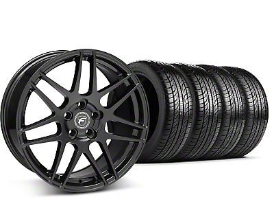Forgestar Staggered F14 Piano Black Wheel & Pirelli Tire Kit - 19x9/10 (15-16 All)