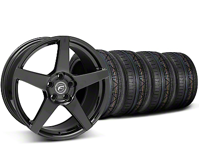 Staggered Forgestar CF5 Piano Black Wheel & NITTO INVO Tire Kit - 19x9/10 (15-17 All)