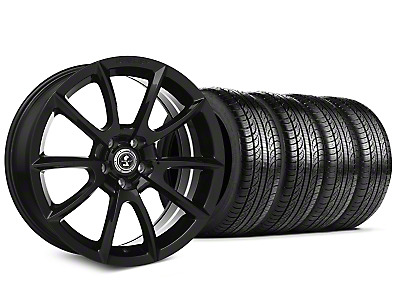 Staggered Shelby Super Snake Style Black Wheel & Pirelli Tire Kit - 19x8.5/10 (15-17 All)