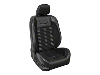 TMI Premium Sport R500 Lowback Style Upholstery Front Only with Airbags - Black Vinyl & Black Stripe/Stitch - Coupe (05-10 GT, V6)