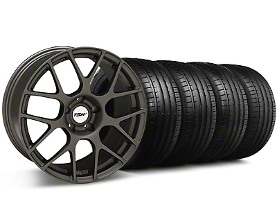Staggered TSW Nurburingring Matte Gunmetal Wheel & Falken Tire Kit - 18x8/9 (05-14)