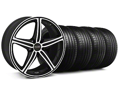Staggered Foose Speed Black Machined Wheel & Falken Tire Kit - 18x8/9.5 (05-14 All, Excluding GT500)