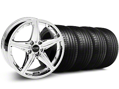 Staggered Foose Speed Chrome Wheel & Falken Tire Kit - 18x8/9.5 (05-14 All, Excluding GT500)