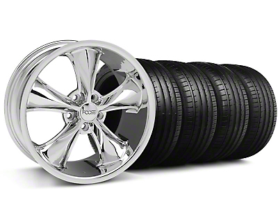 Staggered Foose Legend Chrome Wheel & Falken Tire Kit - 18x8.5/9.5 (05-10 GT, V6)