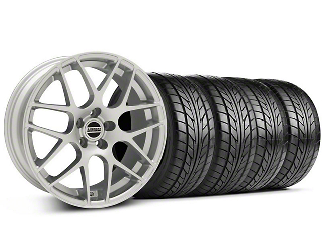 Staggered AMR Silver Wheel & NITTO Tire Kit - 18x9/10 (05-14 All, Excludes 13-14 GT500)