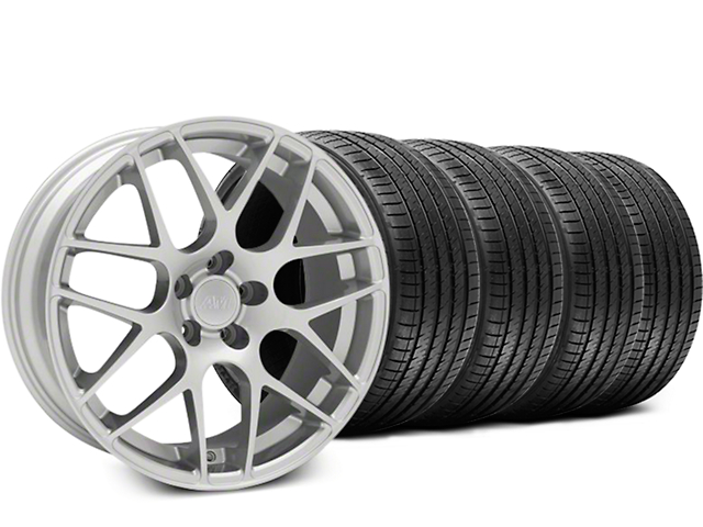 Staggered AMR Silver Wheel & Sumitomo Tire Kit - 18x9/10 (05-14 All, Excludes 13-14 GT500)