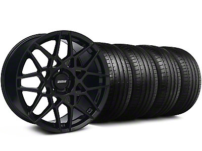Staggered 2013 GT500 Style Gloss Black Wheel & Falken Tire Kit - 18x9/10 (05-14 All)