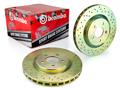 Brembo Sport Cross-Drilled Rotors - Rear (05-14 All; Excludes 13-14 GT500)
