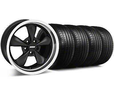 Staggered Bullitt Deep Dish Matte Black Wheel & Falken Tire Kit - 18x9/10 (05-14 GT, V6)