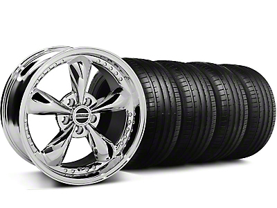 Staggered Bullitt Motorsport Chrome Wheel & Falken Tire Kit - 18x9/10 (05-14 GT,V6)