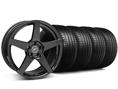 Staggered Forgestar CF5 Monoblock Gloss Black Wheel & Falken Tire Kit - 18x9/10 (05-14 All)