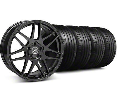 Staggered Forgestar F14 Monoblock Gloss Black Wheel & Falken Tire Kit - 18x9/10 (05-14 All)