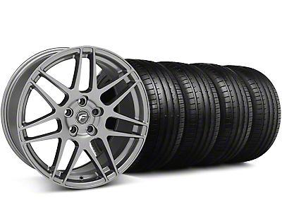 Staggered Forgestar F14 Monoblock Gunmetal Wheel & Falken Tire Kit - 18x9/10 (05-14 All)