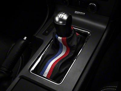 Premium Black Leather Shift Boot - Red, White & Blue Stripe (10-14 All)