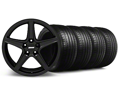 Staggered Saleen Style Matte Black Wheel & Falken Tire Kit - 18x9/10 (05-14 GT, V6)