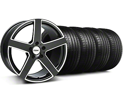 Staggered TSW Rivage Black Machined Wheel & Falken Tire Kit - 19x8/9.5 (05-14)