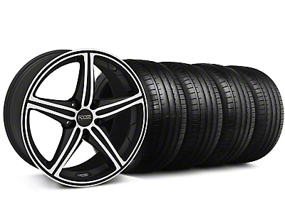 Staggered Foose Speed Black Machined Wheel & Falken Tire Kit - 19x8.5/9.5 (05-14 All, Excluding GT500)