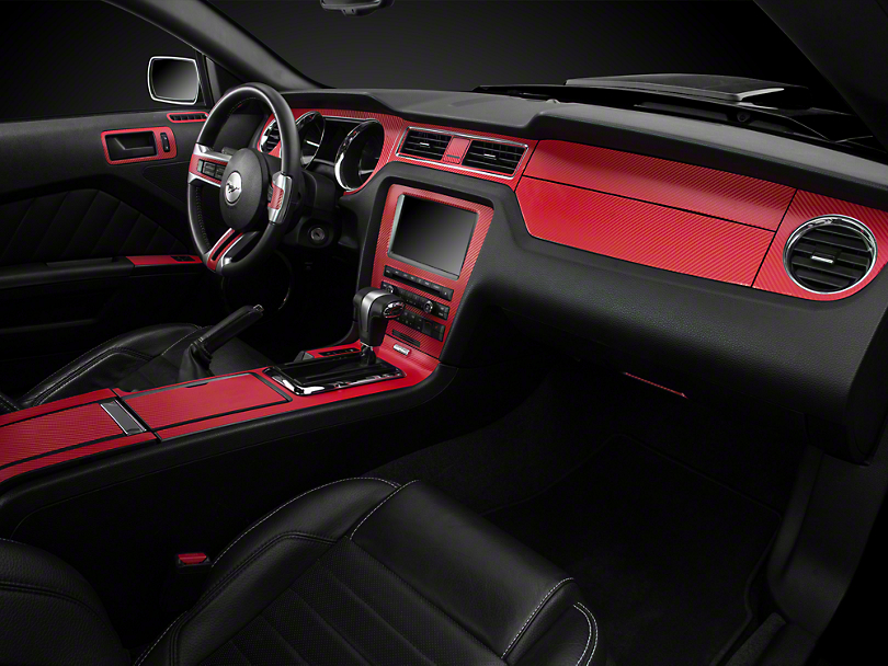 Mustang Red Carbon Fiber Dash Overlay Kit 10 14 All Free Shipping
