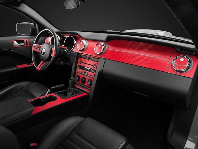 Red carbon fiber mustang dash kit 05 09 all free shipping