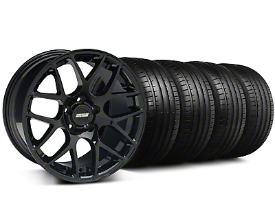 Staggered AMR Black Wheel & Falken Tire Kit - 19x8.5/10 (05-14)