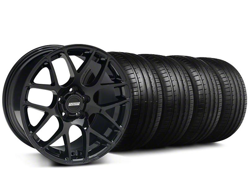 Staggered AMR Black Wheel & Falken Tire Kit - 19x8.5/10 (05-14)